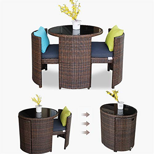 3-piece Rattan Table and Chair Set, Oval Pe Rattan Wicker, Two Chairs and a Table Coffee Table, for Outdoor Terrace Garden Lawn, Garden Bistro Patio