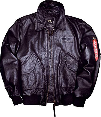 ALPHA INDUSTRIES Herren CWU Leather Jacke, Schwarz (Black 03), X-Large