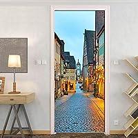 BOXIANGY ヨーロッパのレトロなロマンチックなストリートビューの壁紙PVC粘着ドアステッカー写真壁画リビングルームのドアの装飾壁画