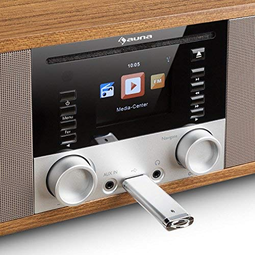 auna IR-190 - Radio de Internet, Reproductor de CD, Bluetooth, WiFi, Radio FM,...
