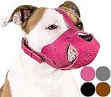 CollarDirect Dog Muzzle Pitbull Amstaff Basket Genuine Leather Staffordshire Terrier (Pink)