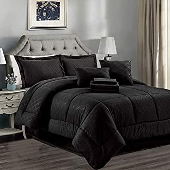 JML Comforter Set 10 Piece Microfiber Bedding Comforter Sets with Shams - Luxury Solid Color Quilted Embroidered Pattern Perfect for Any Bed Room or Guest Room  Black King