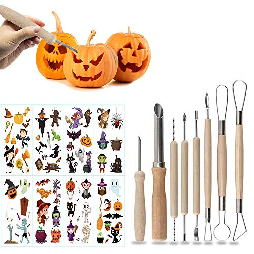 WELLXUNK Kürbis Schnitzset, Edelstahl Halloween Kürbis Schnitzwerkzeug, DIY Kürbis Carving Set für Kinder Familie Halloween Dekorationen(8 Stück)