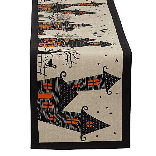 DII Halloween Fun & Decorative Tabletop, 14 x 72 Runner, Haunted House