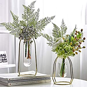 Silk Flower Arrangements MARATTI 2 Pcs(S+L) Flower Vases with Iron Art Frame, Metal Geometric Flower Vase, Clear Vase Decorative for Home Office Wedding Holiday Party Celebrate (Gold/Rose Gold)
