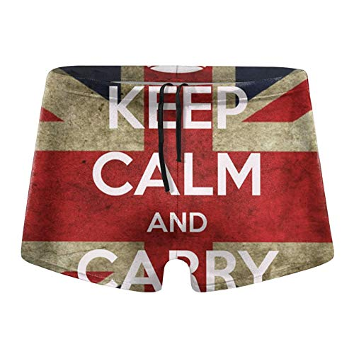 Mens Swim Trunks British Flag Keep Calm Carry On Union Jack Square Leg Shorts Swimsuit