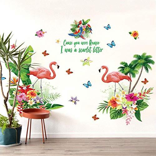 Muurstickers, Roze Flamingo Groene Plant Voor Studeerkamer Huisdecoratie Achtergrond Sticker Pvc Vliegtuig Muurschildering Deur Diy Behang