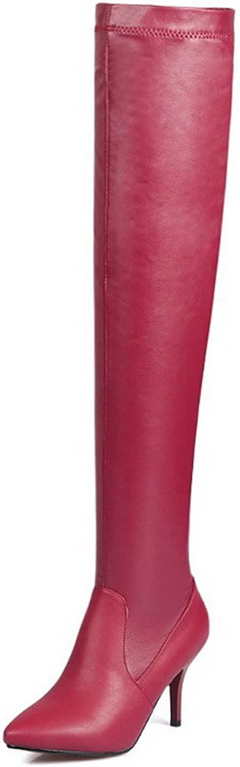 AmoonyFashion Women's Pointed Closed Toe PU Pull-On High-Heels Thigh-High Boots
