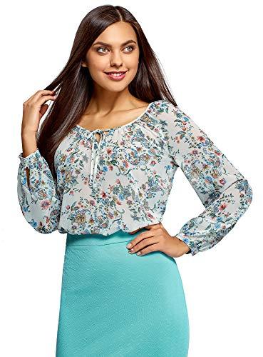 Oodji Collection Mujer Blusa Estampada con Lazos