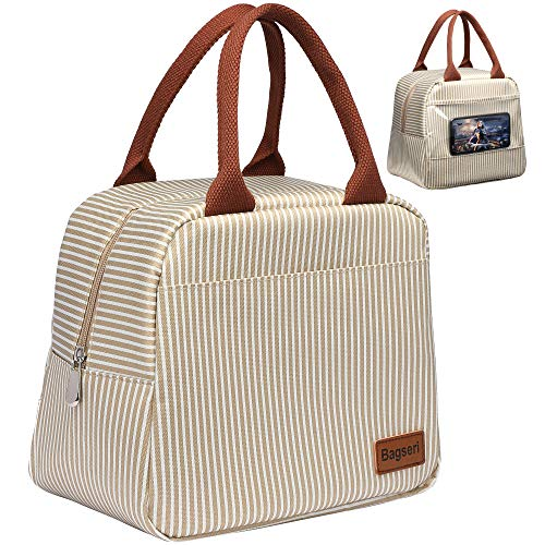 Lunch Bag, Bagseri Insulated Lunch Box for Women and Men, with Transparent Phone Holder Pocket, Reusable Lunch Cooler Bags Thermal Organizer, Water-resistant Lining (Khaki White Stripe)