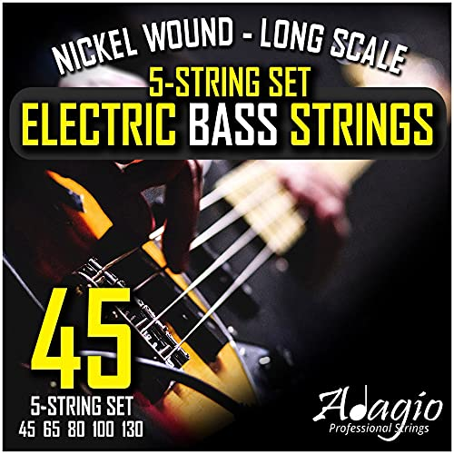 '5 String' Electric Bass Strings Light/Medium Gauge | Steel Core Set With...