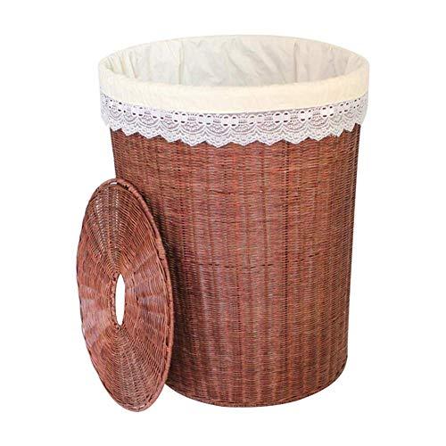 JYTTD Storage Basket Wasmand Wasserij Hamper Flip Deksel Opbergdoos Kleding Speelgoed Opslag Kunststof Imitatie Rotan Bruin Opbergmandje