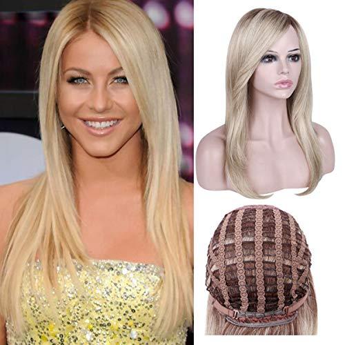 Queentas® Natuurlijke Rechte Asblonde Ombre Pruik met Vrij Haar voor Vrouwen Donkerbruin Wortels Synthetische Haarstukken Volledige Pruik + 1 Gratis Haarnetje
