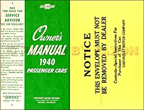 1940 CHEVROLET CAR OWNERS INSTRUCTION and OPERATING MANUAL PLUS ENVELOPE - FOR Master 85 Series KB & Master Deluxe Series KA Models, Series KH Commercial Cars