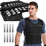 LEKÄRO Adjustable Weighted Vest 44LB Weight Training Workout Fitness Boxing Jacket Sleeveless Garment (Including Weight: 96 Plated Steel Plates)