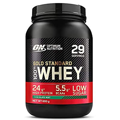 Optimum Nutrition Gold Standard Whey Protein Powder Muscle Building Supplements with Glutamine and Amino Acids, Chocolate Mint, 29 Servings, 908 g
