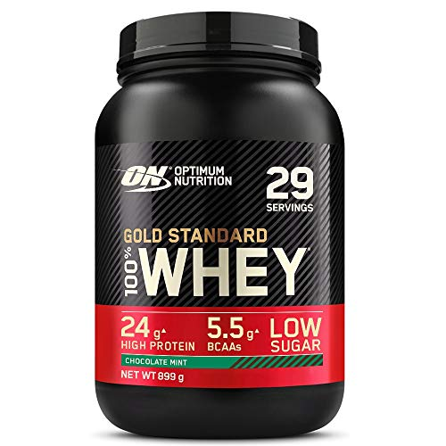 Optimum Nutrition ON Gold Standard Whey Protein, Muscle Building Powder With Naturally Occurring Glutamine and Amino Acids, Chocolate Mint, 29 Servings, 899 g, Packaging May Vary