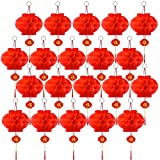 20 Pcs red Chinese Lanterns, Hanging red Paper Lanterns, New Year, Spring Festival, Lantern Festival Decorations, 26cm /10.3inch (red)