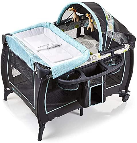 Portátil niño bebé viajes cuna cama camas camas bebé cuna reclinable 2 en 1 Bassinet Bed Activity Play Center con bolsillo de almacenamiento Trans Bolsa Lindos Juguetes (Color : Grey)