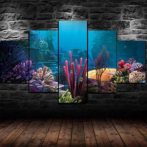 AWER 5 Piezas Cuadro en Lienzo Peces de arrecifes de corales submarinos Modernos Lienzo Decorativo para Pared, Cuadros Decoracion para Pasillo Salon dormitorios XXL 80x150 cm con Marco
