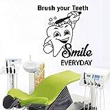 ASFGA Dibujos Animados Dental Hospital Salud Etiqueta de la Pared Cepillo de Dientes calcomanía de Pared de Vinilo decoración del baño cepilla Tus Dientes sonríe Todos los días 52x57cm