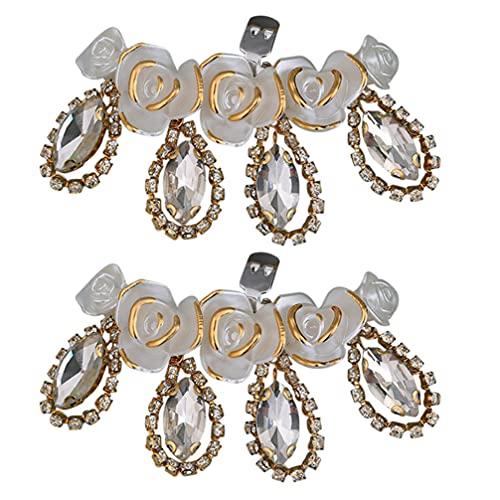 SOIMISS 2 Piezas Clips de Zapatos de Flores de Cristal Cuentas de Diamantes de Imitación Hebillas de Zapatos de Novia Boda Moda Fiesta Zapatos Florales Adornos para Mujer Niña Zapatos