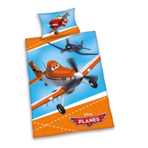 Herding 266416063412 Bettwäsche Disney's Planes, Kopfkissenbezug - 40 x 60 cm und Bettbezug - 100 x 135 cm, 100 % Baumwolle, Flanell / Biber