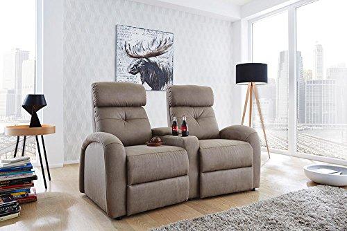 lifestyle4living 2er Cinema Sessel in geprägtem Microfaser-Stoff in beige, 2 Getränkehalter, 1 Stauraumfach in Armlehne, Körperdruckverstellung, Tiefe: ca. 85-165 cm