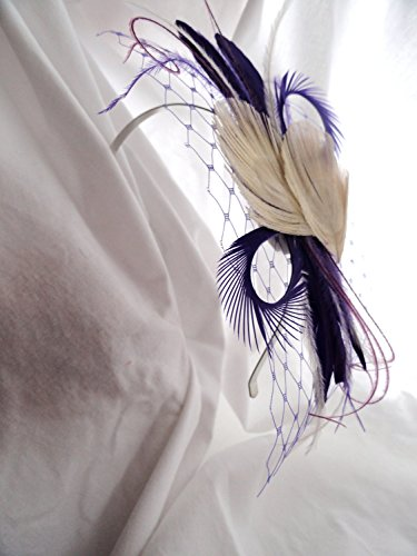 Oh Lucy Handmade FRANCESCA Peacock Feather Headband in Ivory and Purple with Turquoise Russian Veil