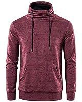 SIR7 Men's Fleece Pullover Casual Turtleneck Sweatshirt Slim Fit Long Sleeve Hoodie(Wine Medium)