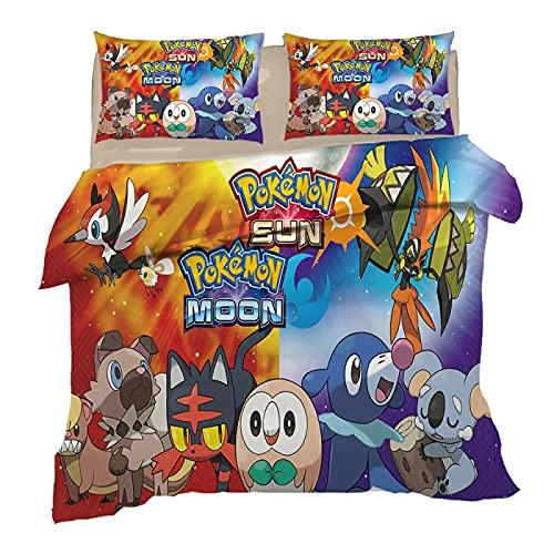 XKNSYMRL Ropa De Cama 120X190, Pokémon Impresión Digital 3D Funda Nórdica Cama 90, Upgrade Poliéster Microfibra Conjuntos De Ropa De Cama con Cierre De Cremallera, para Muchachos Chicas (135X200Cm)