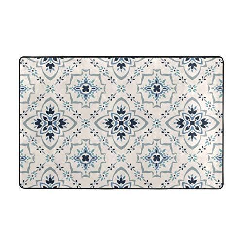 SXCVD Alfombra de baño,Patrón Talavera.Azulejos Portugal.Adorno TurcoMosaico marroquí,Alfombra de baño Antideslizante Alfombra
