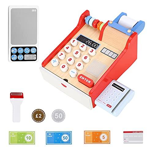 SOKA Wooden Cash Register Children's Shop Grocery Checkout Till Toy, Multicoloured