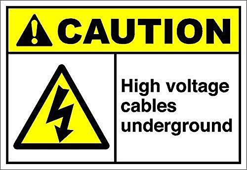 None Brand High Voltage Cables Underground Caution OSHA/ANSI Blechschild Retro Blech Metall Schilder Poster Deko Vintage Türschilder Schild Warnung Hof Garten Cafe Toilette Kneipe Club Geschenk