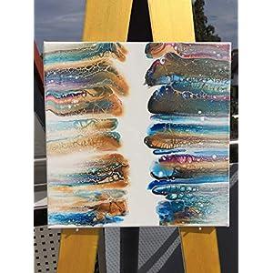 """""""wiped I"""" – Acryl Pouring I 30 x 30 x 1 cm I original handgemaltes Einzelstück I weiß, gold, blau, magenta I Leinwand auf Keilrahmen I Moderne Kunst für Wohnzimmer, Flur, Arbeitszimmer"""