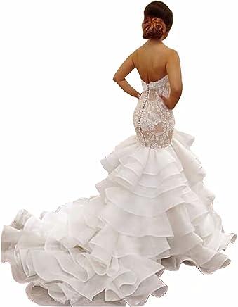 f2b600f7ac4a4 Chady Women's Sweetheart Mermaid Wedding Dresses Organza Ruffles Wedding  Dress Bridal Gowns