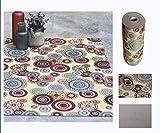 Comercial Candela Alfombra de Pasillo de Textil Resinado Antimanchas, Lavable   Base PVC Antideslizante y Aislante Diseñoma Mandala Circulo Colores (65_x_200_cm)