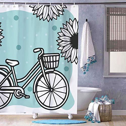 Free Brand Clip Art Blume Fahrrad Duschvorhang Badezimmer mit Haken Polyester Stoff Lang Duschvorhang Stall Badewannen Wasserdicht Vorhang Liner 182 x 182 cm