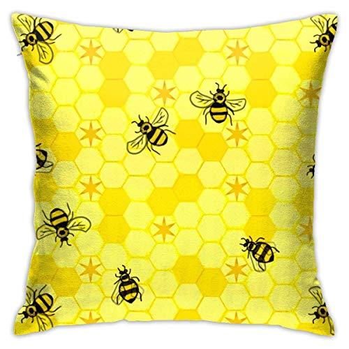 V-kook-v - Funda de cojín con diseño de panal de abejas, diseño cuadrado, diseño de doble cara, 45,7 x 45,7 cm