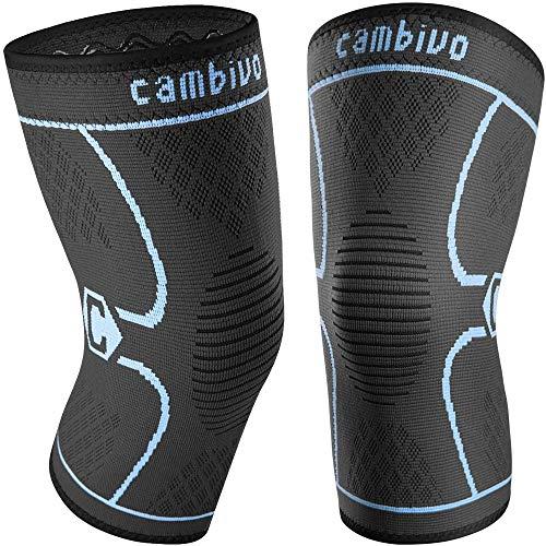 CAMBIVO 2 x Kniebandage Damen und Herren, Knieschoner, Kniestützer für Laufen, Wandern, Joggen, Sport, Volleyball (S, Schwarz/Blau)