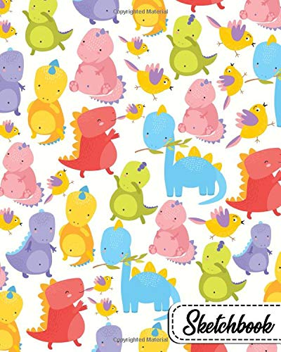 Sketchbook: Awesome Workbook and Notebook for Drawing, Sketching, Painting, Writing, Class, Work or Home Use - Sweet Baby Dinosaur Pattern