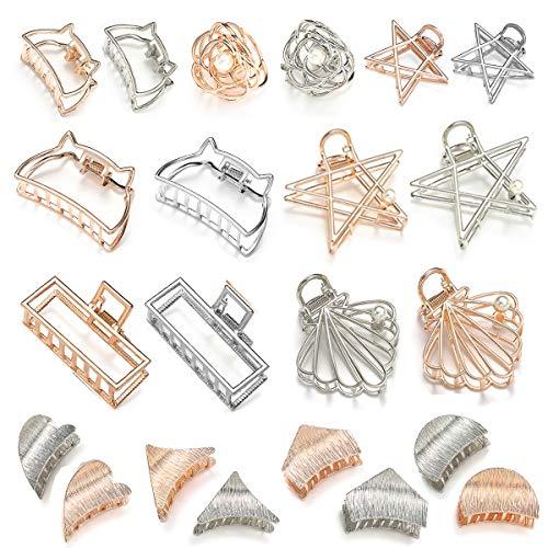 J&E, 22pcs Pinzas de Pelo, Hebillas del Pelo, Clips de Garra de Metal Accesorios Para Recoger el Pelo