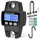 RoMech 660lb Digital Hanging Scale with Cast Aluminum Case, Handheld 300Kg Mini Crane Scale with Hooks for Farm Hunting Fishing Outdoor (Black)