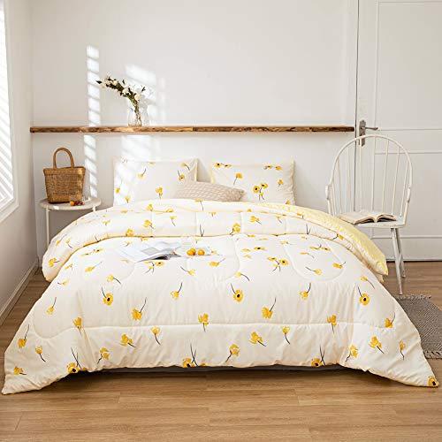 Yellow Flower Comforter Set Luxury Floral Duvet Set Lucky Clover and Yellow Plaid Reversible Down Alternative Comforter Microfiber Filling Bedding Sets Queen 1 Comforter 2 Pillowcases (Queen, Yellow)
