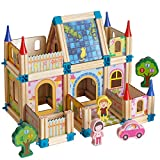 128 pcs Wooden Building Blocks Set for Kids Toys, Construction Toy and Minifigures, Castle and Farm Building Set, Great Gift for Players Aged 3 and up Architecture Building Blocks Toy