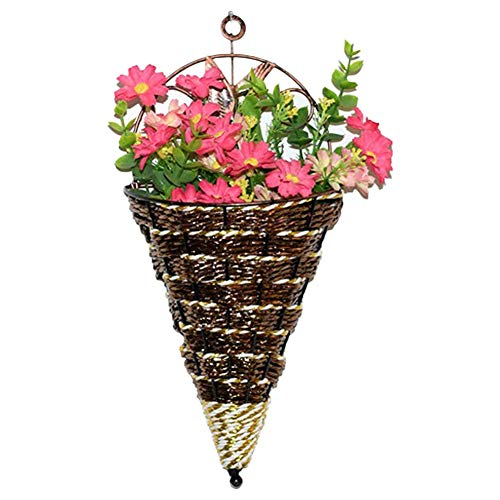 Wall Hanging Plant Pots Flower Baskets Wicker Woven Wall-Mounted Plant Pot Holder Cone Storage for Home Garden Brown