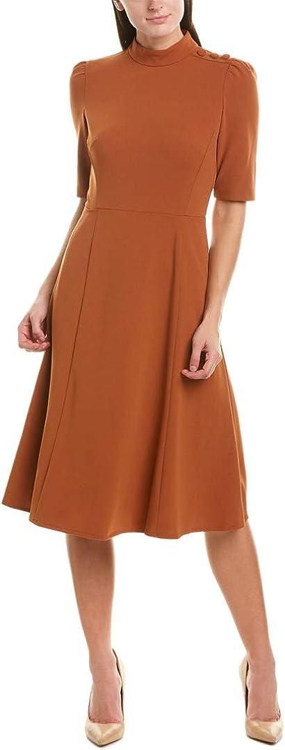 Donna Morgan Women's Stretch Crepe Military Detailed Shoulder Dress
