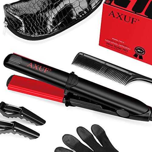 AXUF Mini Hair Straightener Flat Iron for Hair,2 in 1 Travel Flat Iron with Floating Ceramic Plates,Straightens&Curls with Steady Temp,3/4 Inch Portable Curling Iron for Short Hair and Moustache