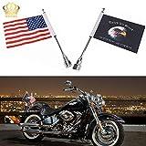 Adjustable 6'x 9'American Flag + Flagpole Mount & 6' x 9' Eagle American Flag + Pole Mount, for Harley Davidson Honda Goldwing CB VTX CBR Yamaha (1) (Red And Black)