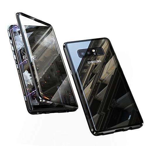 Jonwelsy Funda para Samsung Galaxy Note 8, Adsorción Magnética Parachoques de Metal con 360 Grados Protección Case Cover Transparente Ambos Lados Vidrio Templado Cubierta para Note 8 (Negro)